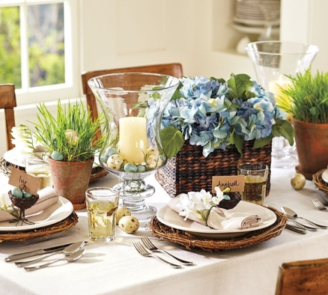 easter decor table settings